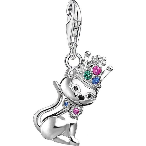 1fc387953c8 THOMAS SABO Charm Club Queen Cat sterling silver charm ( 105) ❤ liked on  Polyvore featuring jewelry