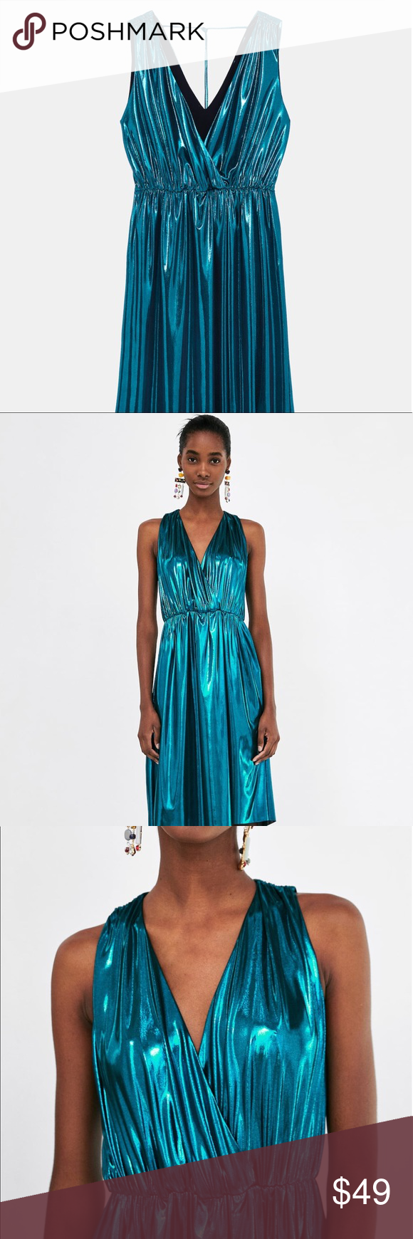 db158847 Zara Metallic Flowing Dress - NWT Sleeveless flowing dress with a  V-neckline and gathering