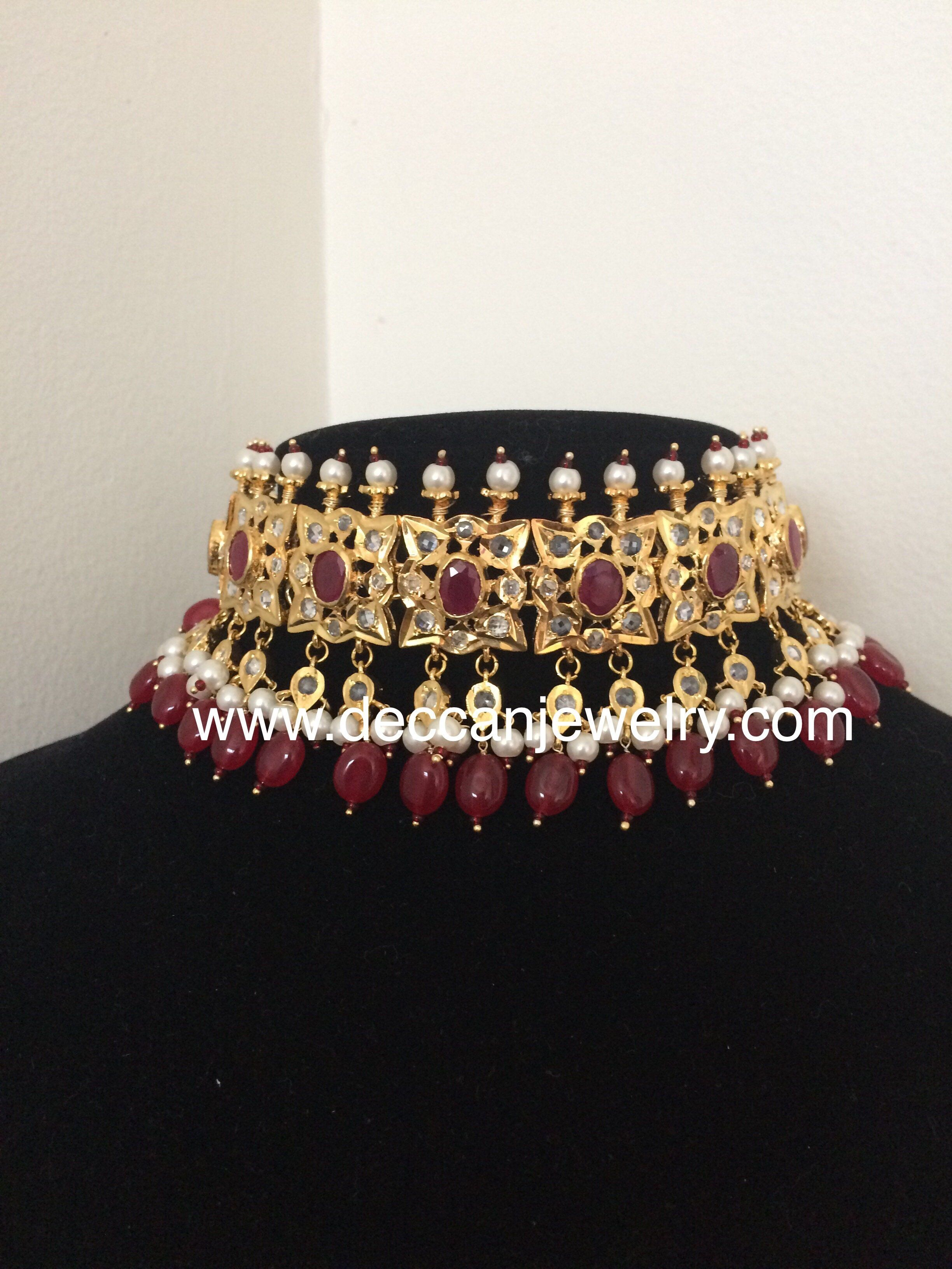 Indian jewelry Pearl Wedding Hyderabadi Jadau choker set Guluband Silver plated