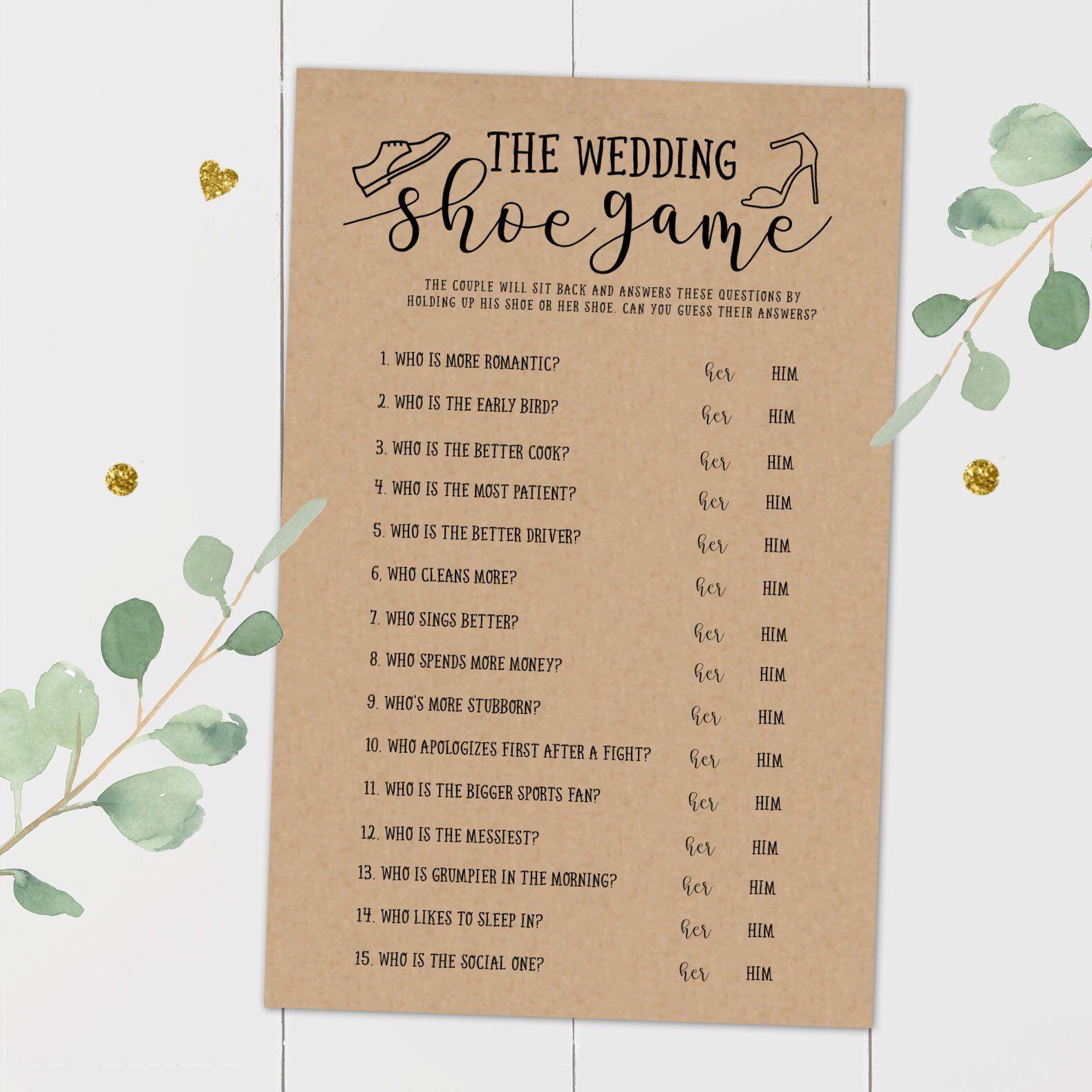 The Wedding Shoe Game,Bridal Shower Games, Bridal Wedding ...