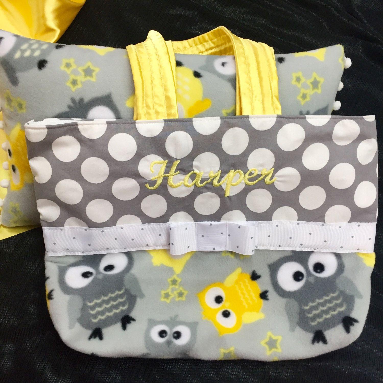 Personalized diaper bag boy girl grey yellow owl fabric pom pom personalized diaper bag boy girl grey yellow owl fabric pom pom trim negle Choice Image