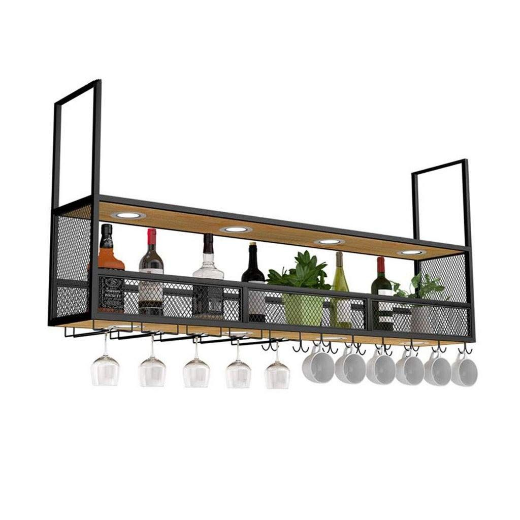 Lxyplm Etagere Casier Vin Bouteille Plafond Suspendu En Metal Retro Avec Porte Bouteilles Et Etag En 2020 Etagere Suspendue Cuisine Plafond Suspendu Plafond Metallique