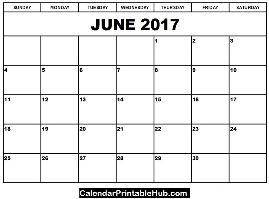 Blank June 2017 Calendar PDF   calendarprintablehub/june