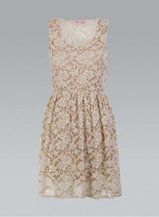 Cream Floral Lace Sleeveless Dress with Pleated Skirt,  Dress, lace dress  sleeveless  floral, Chic
