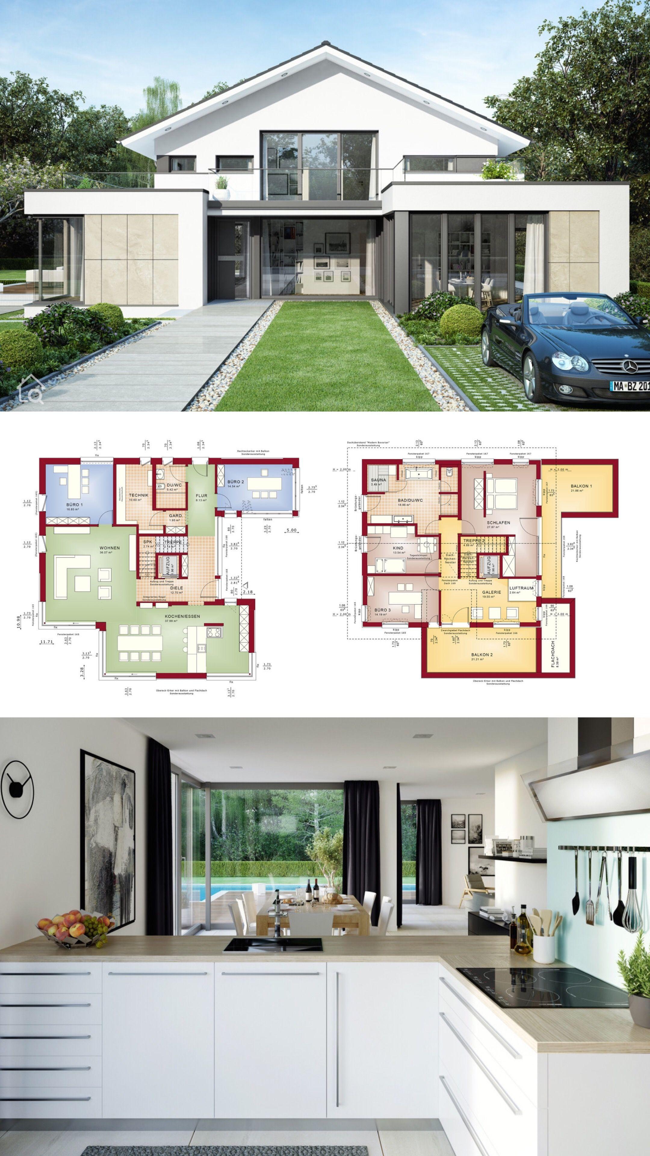 Satteldach Haus Design modern mit 6 Zimmer Grundriss