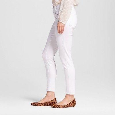 db3dc6e89 Women s High Rise Skinny With Zipper Pockets - Mossimo White 12R ...