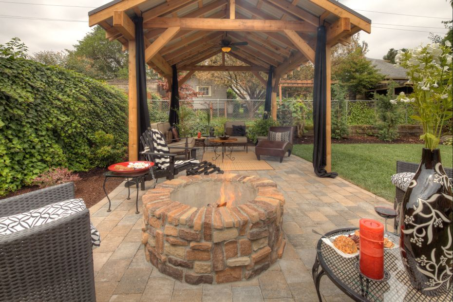 Firepit Pergola Designs Paradise Restored Landscaping Backyard Pavilion Backyard Fire Backyard Gazebo