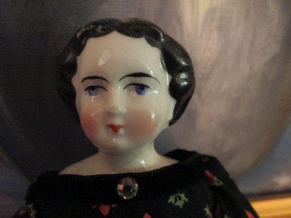 Antique German China Head Doll Flat Top Civil by ParisPaintingsEtc