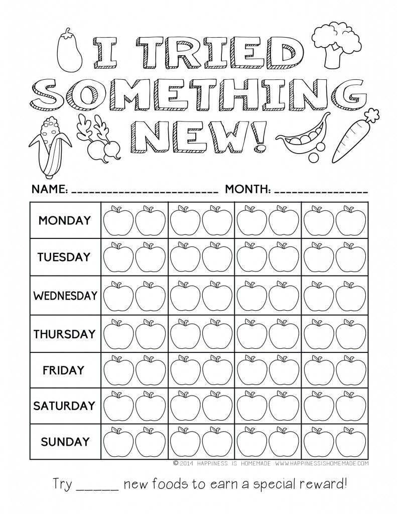I Tried Something New Healthy Eating Reward Chart For Kids