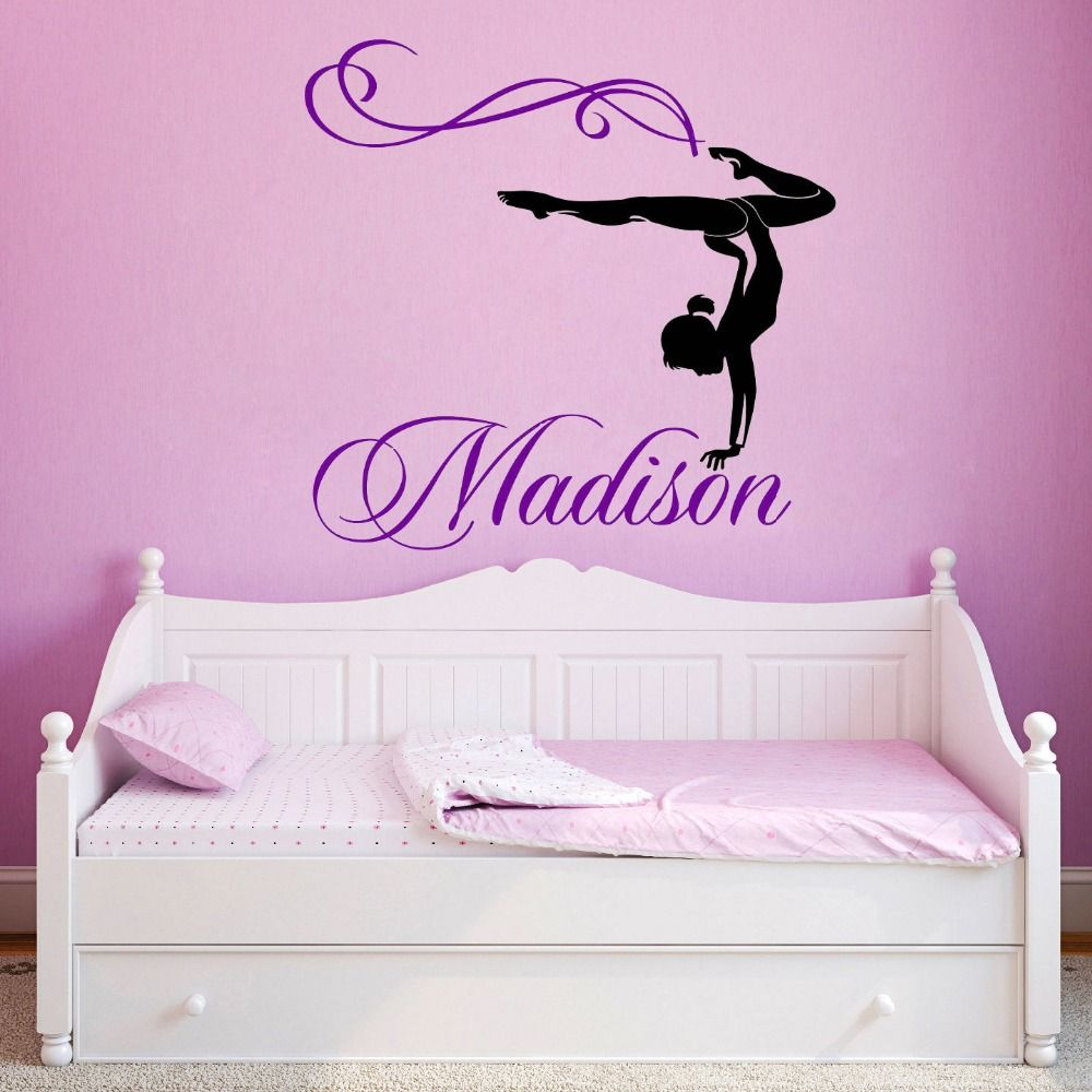 Girls name decal gymnast wall decal gymnastics vinyl sticker personalized girl name gymnast gymnastics dance vinyl wall decal custom vinyl wall decals gymnastics amipublicfo Image collections