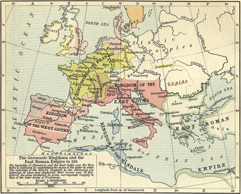 Map Of Europe During Roman Empire.Map Depicting The Germanic Kingdoms Of Europe In 526 And The Eastern