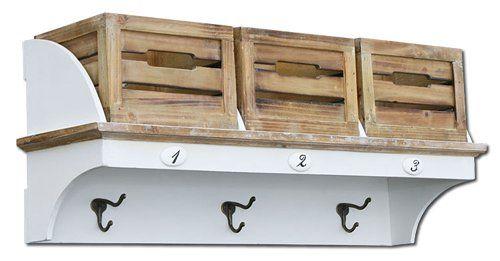 KMH®, Garderoben-Regal mit 3 Holzkörben im Vintage-Look (#204801 - regale für küche