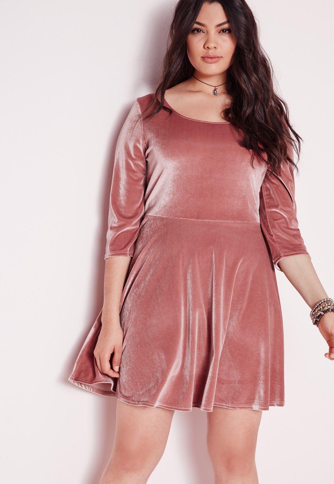 Missguided - Plus Size Velvet Skater Dress Pink | My Style ...