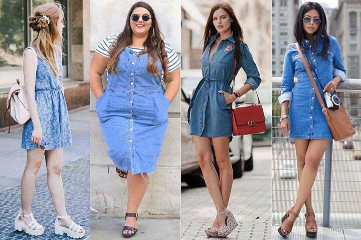 Leia aqui!: http://imaginariodamulher.com.br/look/?go=2irJ6e8 Como Usar Vestido Jeans. Inspire-se e Encontre com Desconto!