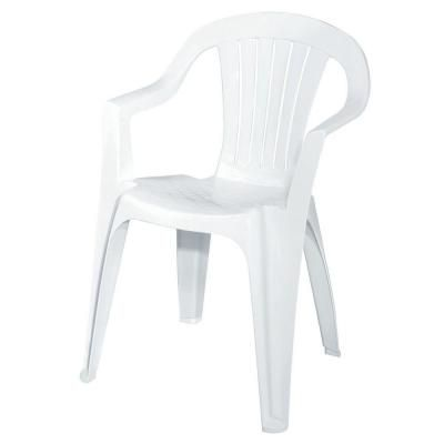 White Patio Low Back Chair 8234 48 4301 The Home Depot Stacking Patio Chairs Patio Dining Chairs Stackable Dining Chairs