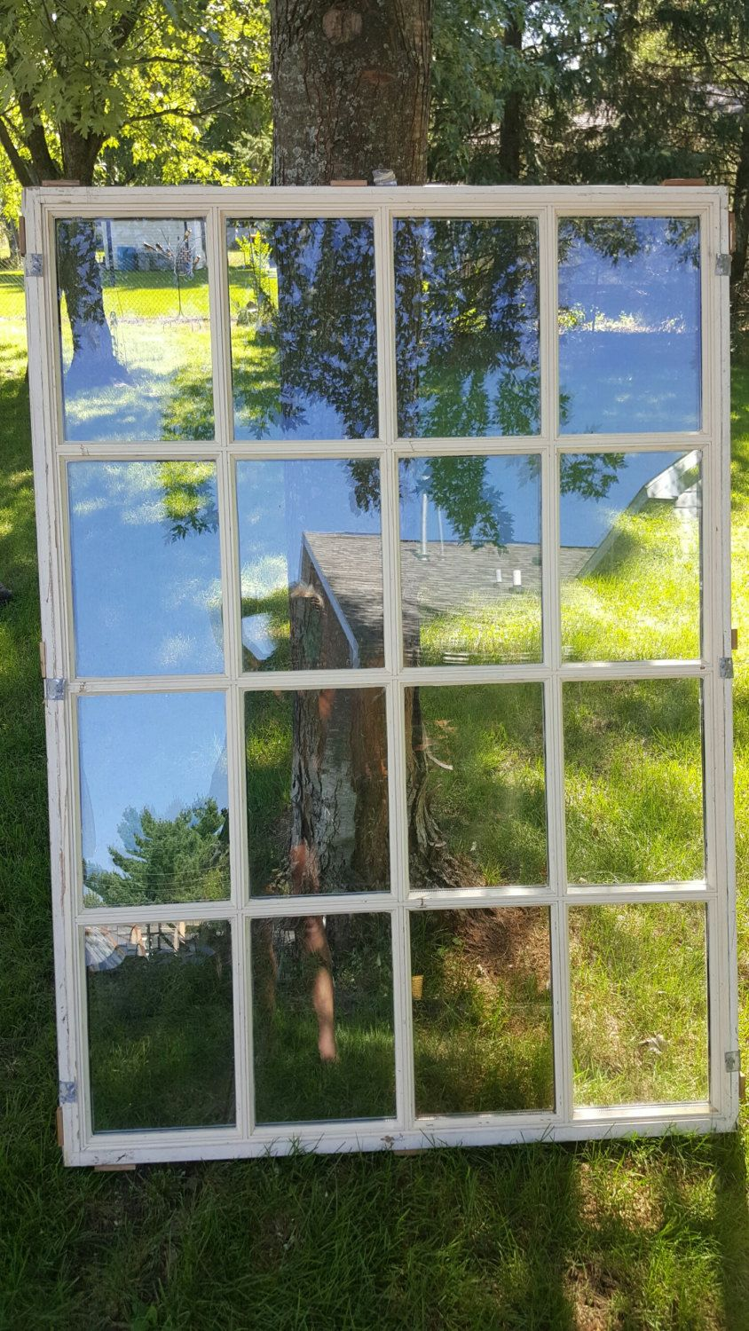 Old Window Frame Large Window Wood Window 12 Pane Old Picture Frame Large Collage Frame Old Picture Frames Old Window Frame