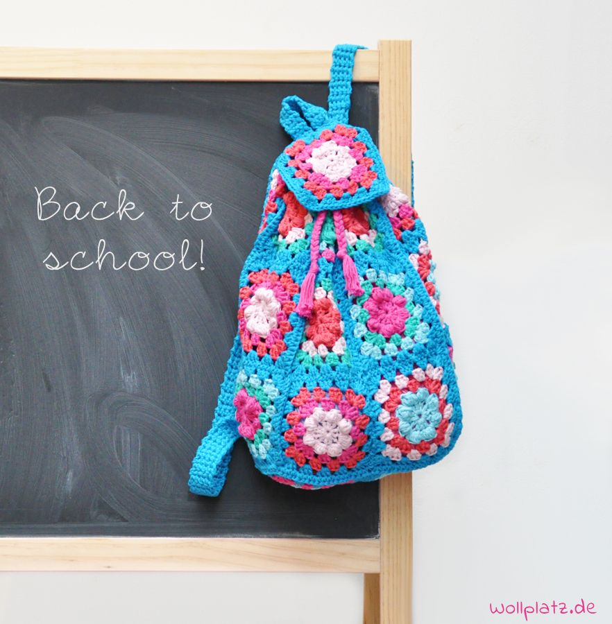 Rucksack häkeln: Back to school! | Pinterest | Wollplatz, Rucksäcke ...
