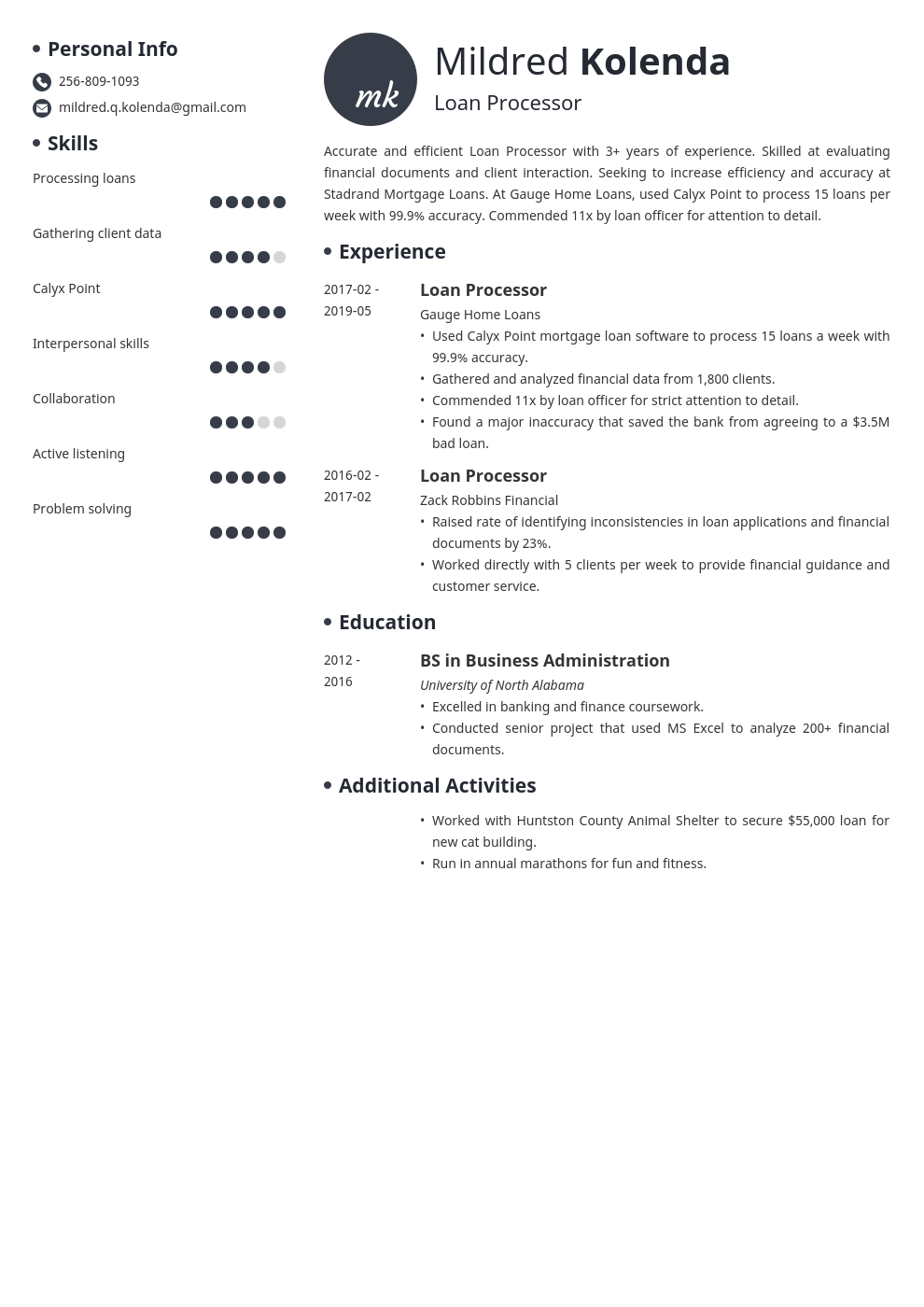 loan processor resume example template initials in 2020