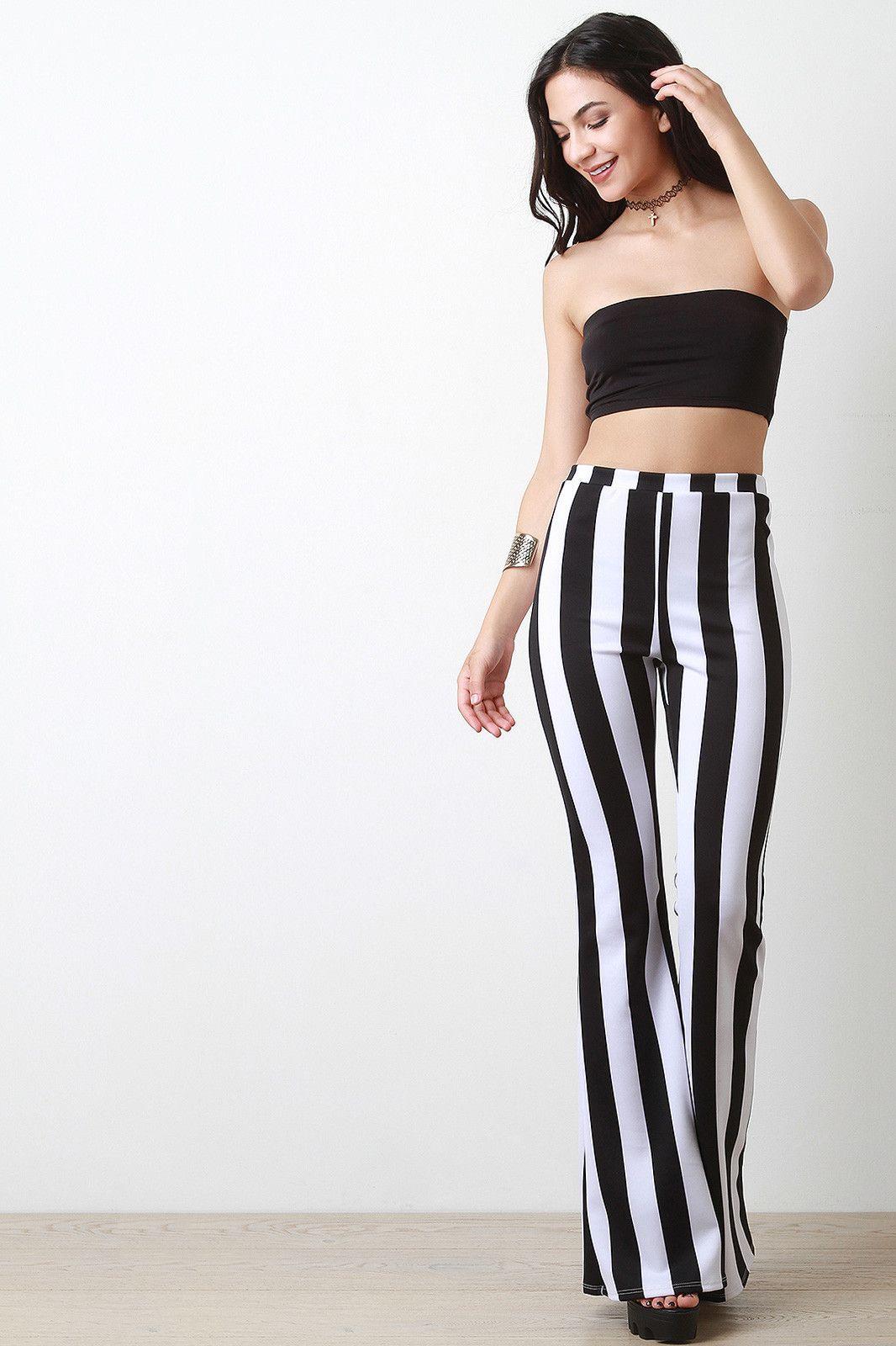High Waist Striped Flare Pant