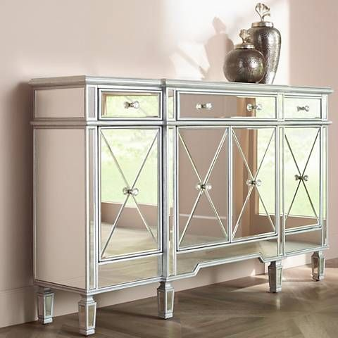 Cablanca 4 Door 3 Drawer Silver Accent Cabinet