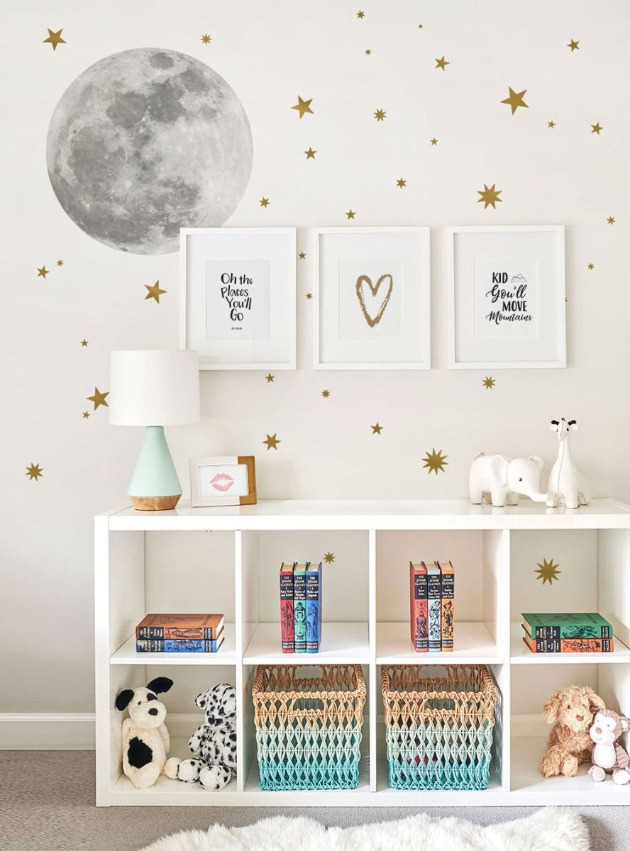 Moon and Stars - Wall Sticker and Wall Decals images