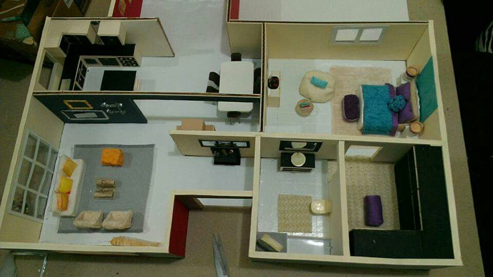 Sala,comedor, cocina, baño,vestidor, habitacion, terrasa #maqueta ...