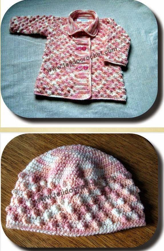 Saquito con gorro para bebé crochet | Crochet y Dos agujas | Ropa de ...