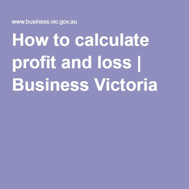 How to calculate profit and loss Business Victoria bakery - profit loss statement for self employed
