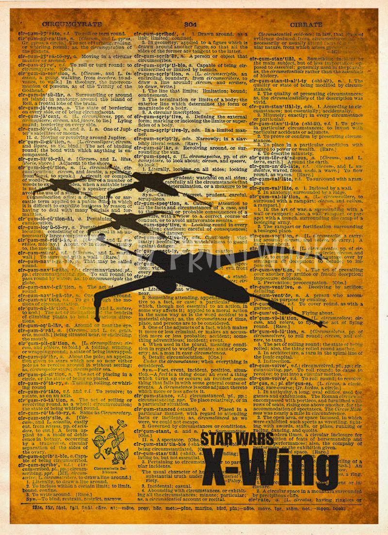 Retro Star wars art print, X Wing Fighter, vintage star wars art, dictionary print