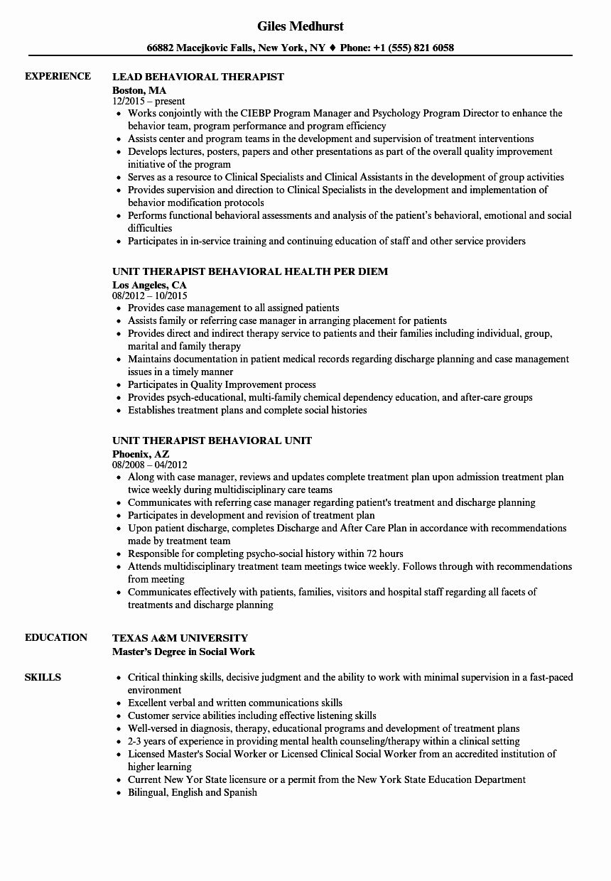 Entry Level Counselor Resume Awesome Behavioral therapist