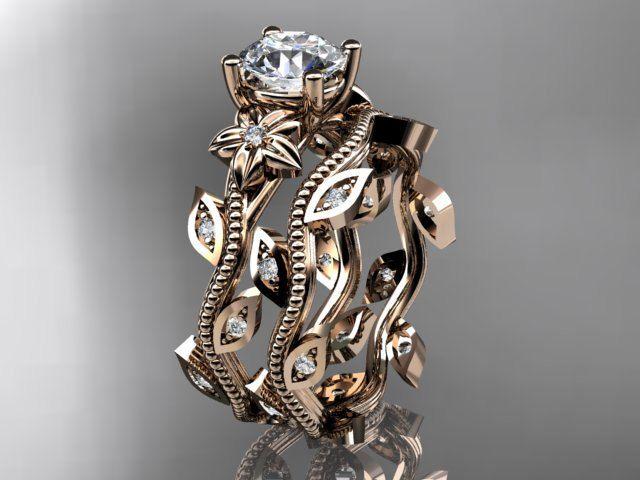 14k rose gold diamond leaf and vine wedding ringengagement ringengagement set adlr151s - Elvish Wedding Rings