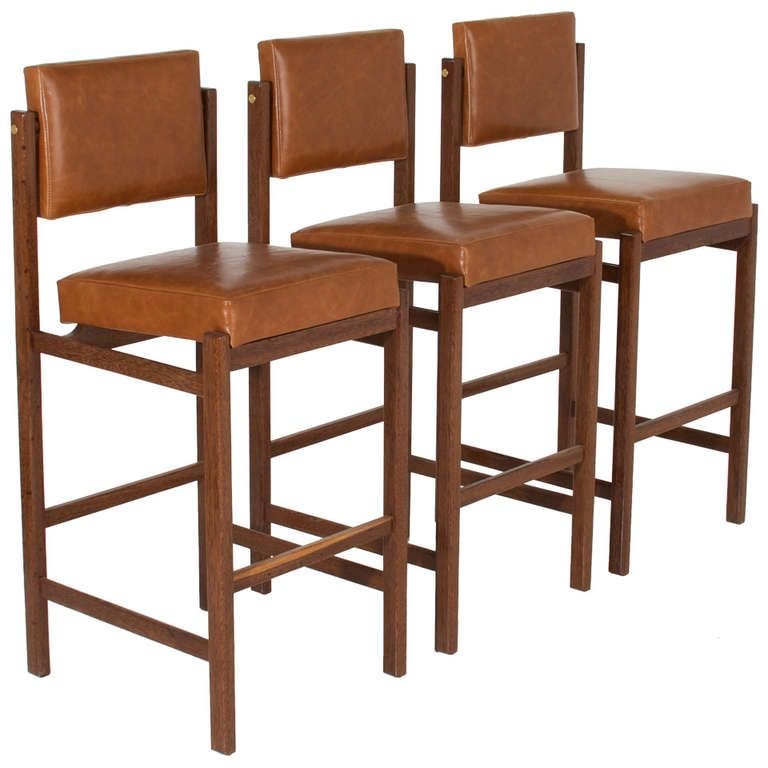 Surprising The Basic Bar Stool In Solid Brazilian Sucupira Wood By Machost Co Dining Chair Design Ideas Machostcouk