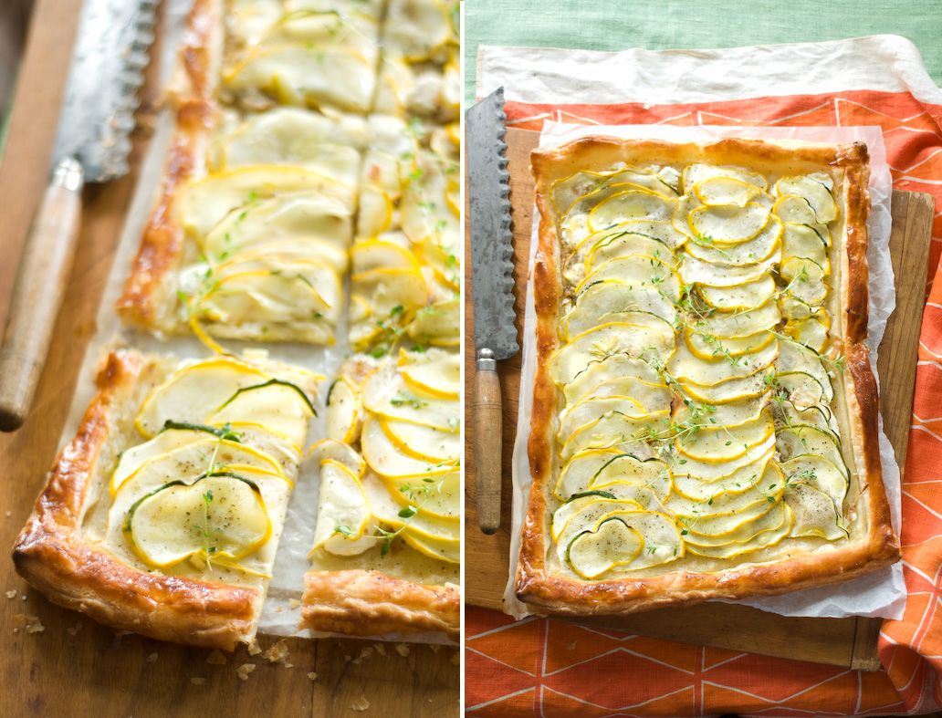 Summer squash and goat cheese tart