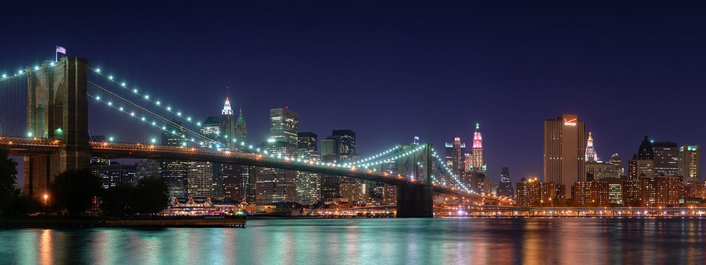 New York City Nyc At Night Brooklyn Bridge Illuminated Bridge Wallpaper Dual Monitor Wallpaper New York Landscape