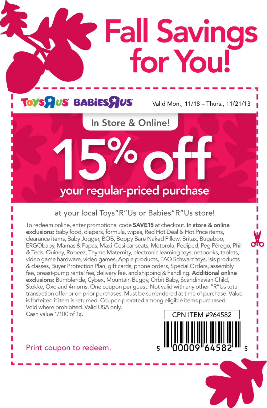 photograph regarding Toys R Us Coupons in Store Printable named Pinned November 18th: 15% off at Toddlers #R Us Toys #R Us