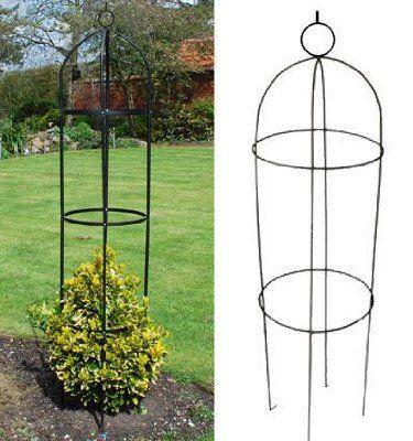 Set Of 2 Kingfisher Black Steel Garden Obelisk (1.9m)