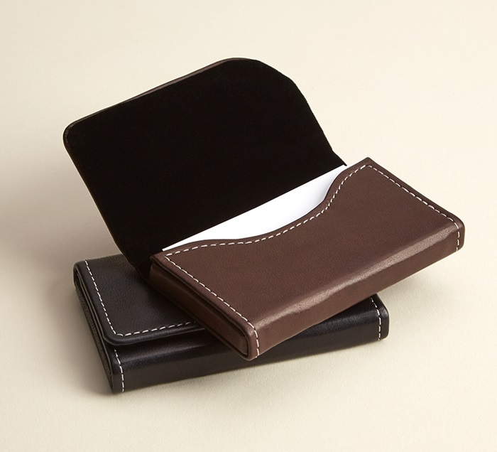 Brown Business Card Holders Horizontal Card Case Vistaprint In 2021 Brown Business Card Leather Business Card Holder Leather Card Case