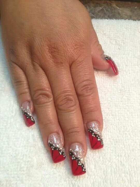 Red Butterflies Nail Art Red Butterfly Nails