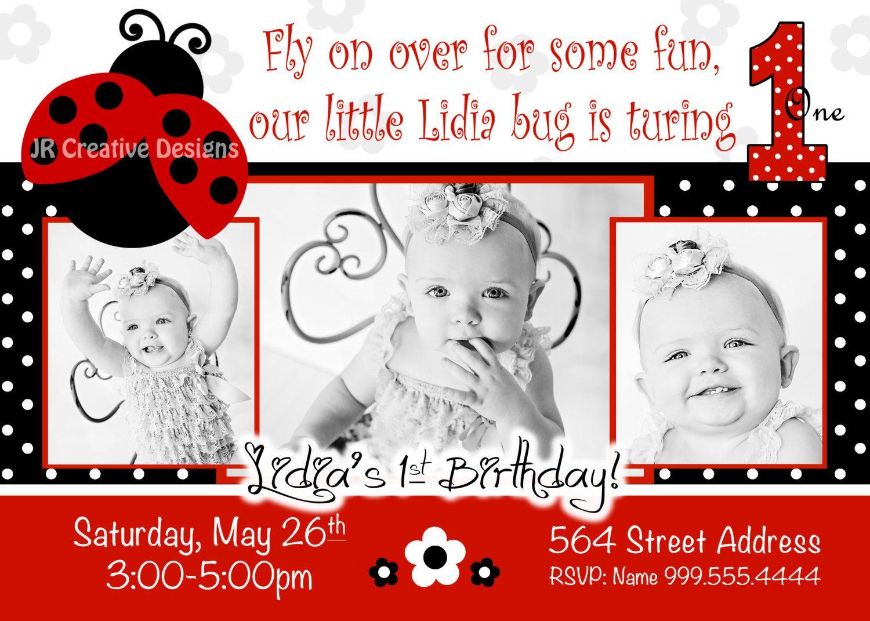 Ladybug Invite Love bug invitation lady bug invitation Red ladybug ...