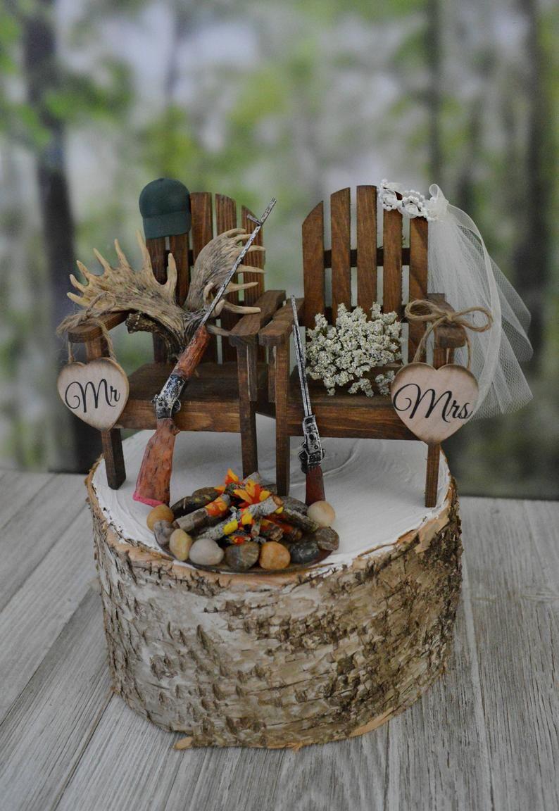 Deer rack themed hunting wedding cake topper shot guns