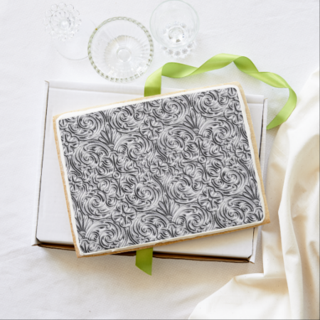 Floral Damask Silver Grey Jumbo Cookie