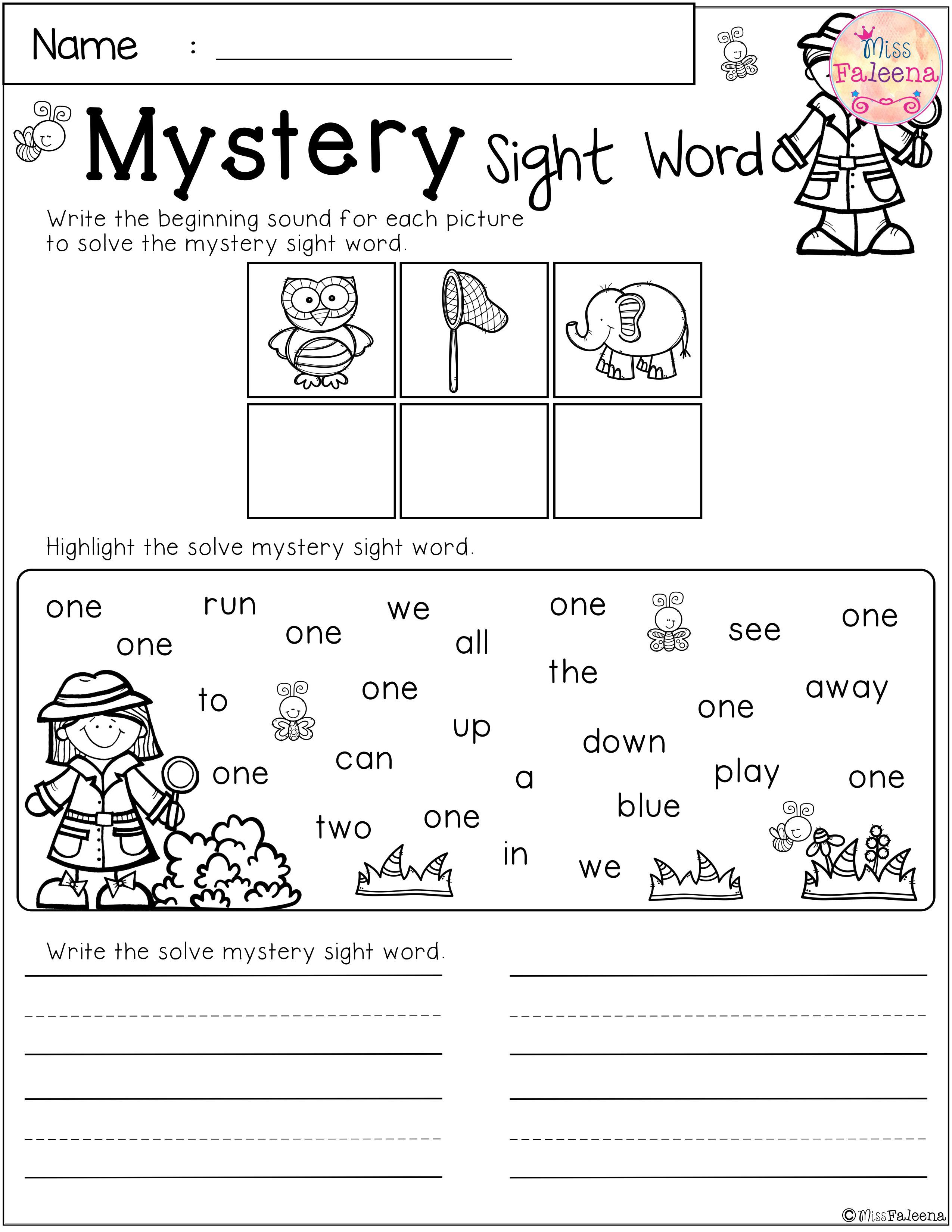 Free Mystery Sight Word Practice
