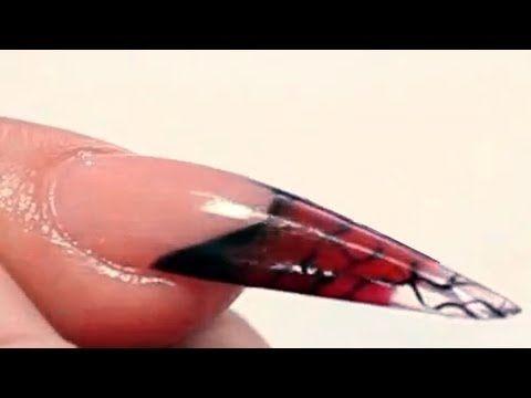 Burlesque Themed Stiletto Acrylic Nail Design Tutorial Video By Naio