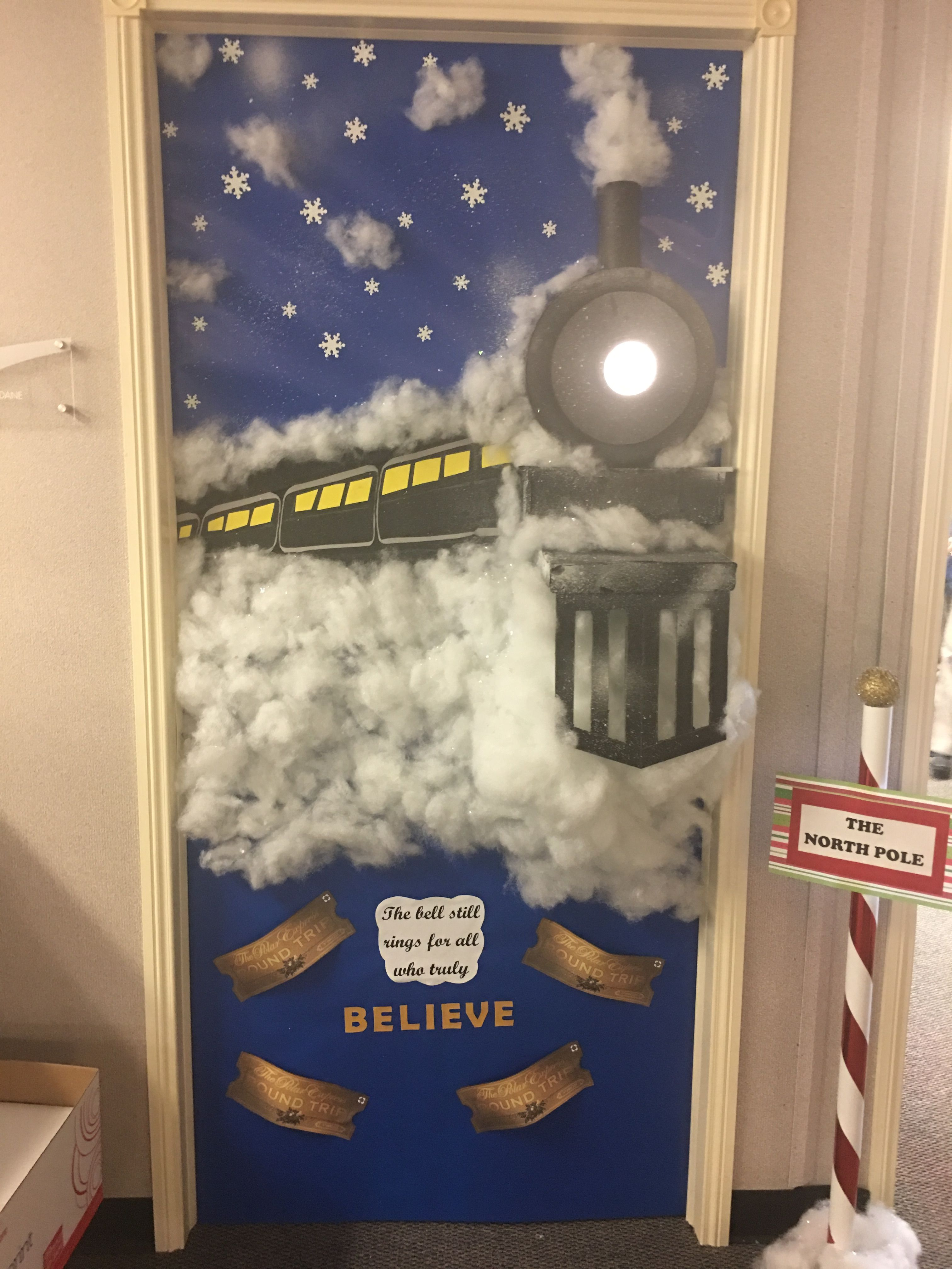 I Just Finished My Door Credits Pinterest For The Idea Dollar Tree Fo Christmas Door Decorating Contest Door Decorating Contest Holiday Door Decorations