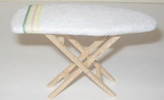 How to make miniature ironing board for the dollhouse laundry room