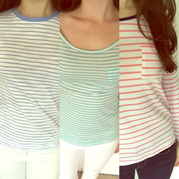 Striped Shirt Bundle Three great striped shirts from my closet! Bundle together to get a discount! One from Urban Outfitters and two from Forever 21. Forever 21 Tops Tees - Short Sleeve