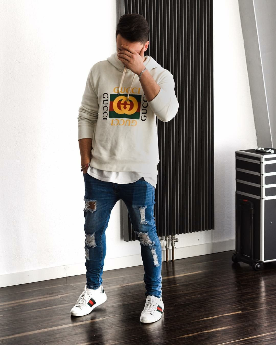 Gucci Distressed Jeans Leather Jacket Outfit Men Mens Outfits Sneakers Outfit Men