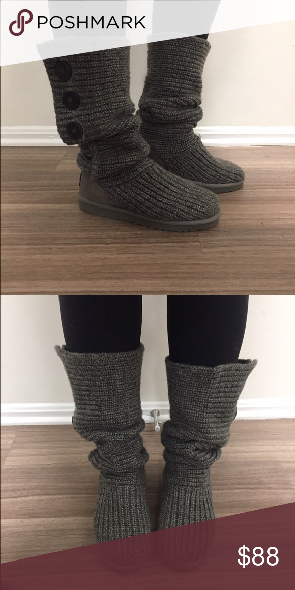 Ugg Grey Classic Cardy Knit Boots My Posh Picks Knit Boots Uggs