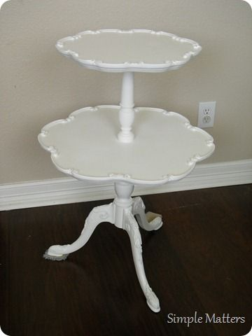 Two Tier Pie Crust Table Painted Accent Pieces