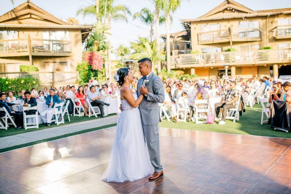Wedding Dress Outdoor Venue Dance Floor Flower Arrangements Love